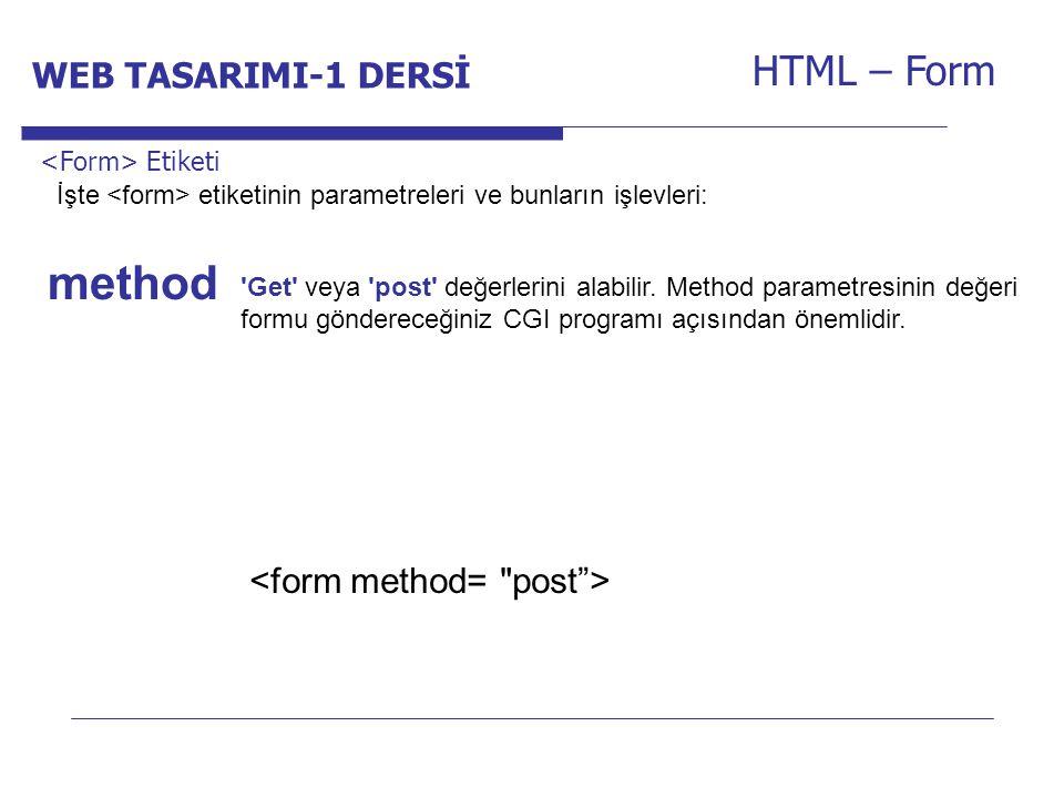 method HTML – Form WEB TASARIMI-1 DERSİ