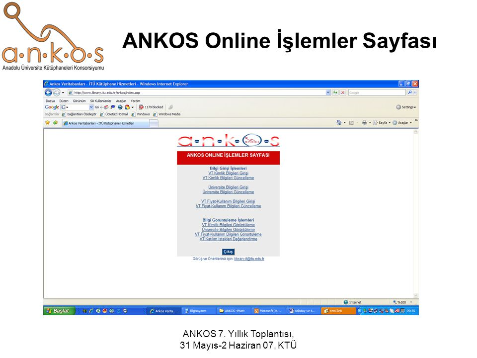 ANKOS Online İşlemler Sayfası