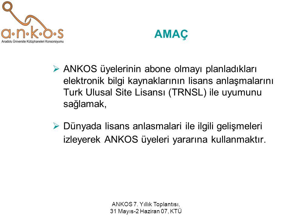 ANKOS 7. Yıllık Toplantısı, 31 Mayıs-2 Haziran 07, KTÜ