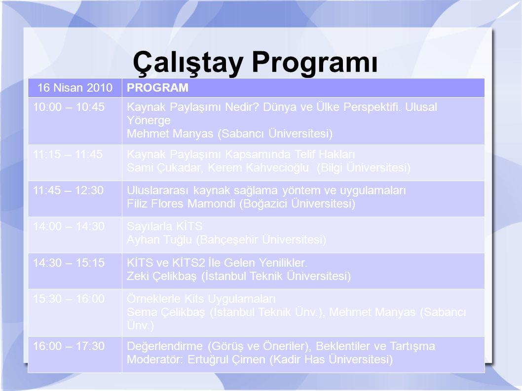 Çalıştay Programı 16 Nisan 2010 PROGRAM 10:00 – 10:45