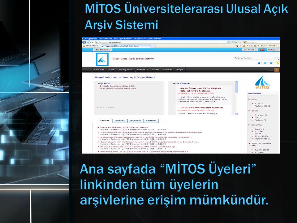 MİTOS Üniversitelerarası Ulusal Açık Arşiv Sistemi