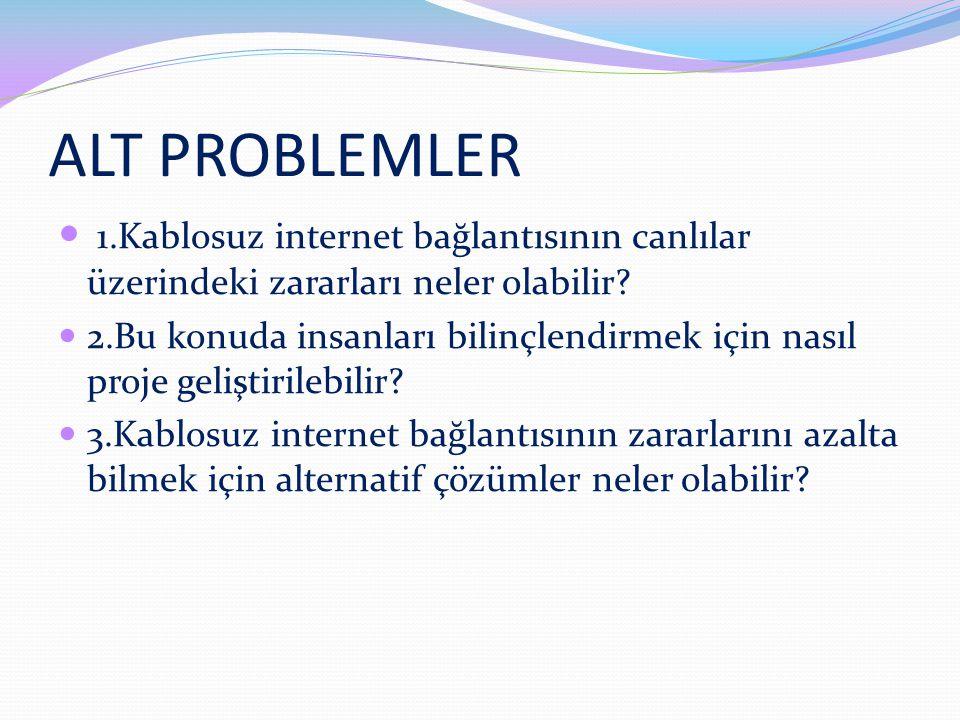ALT PROBLEMLER 1.Kablosuz internet bağlantısının canlılar üzerindeki zararları neler olabilir