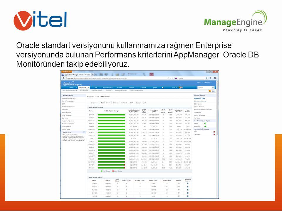 Oracle standart versiyonunu kullanmamıza rağmen Enterprise versiyonunda bulunan Performans kriterlerini AppManager Oracle DB Monitöründen takip edebiliyoruz.