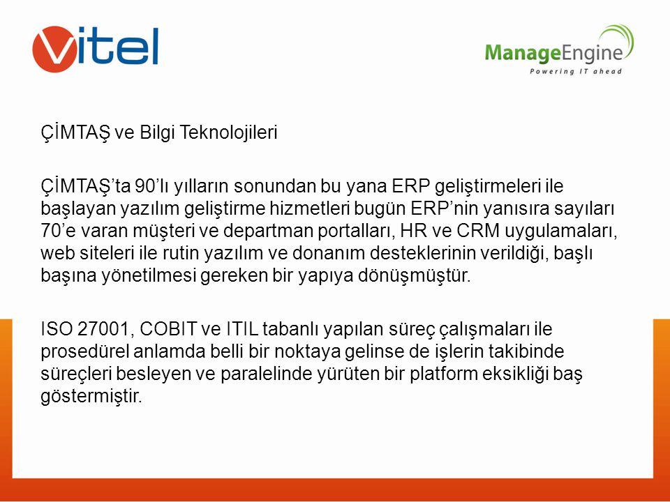 ÇİMTAŞ ve Bilgi Teknolojileri ÇİMTAŞ'ta 90'lı yılların sonundan bu yana ERP geliştirmeleri ile başlayan yazılım geliştirme hizmetleri bugün ERP'nin yanısıra sayıları 70'e varan müşteri ve departman portalları, HR ve CRM uygulamaları, web siteleri ile rutin yazılım ve donanım desteklerinin verildiği, başlı başına yönetilmesi gereken bir yapıya dönüşmüştür.