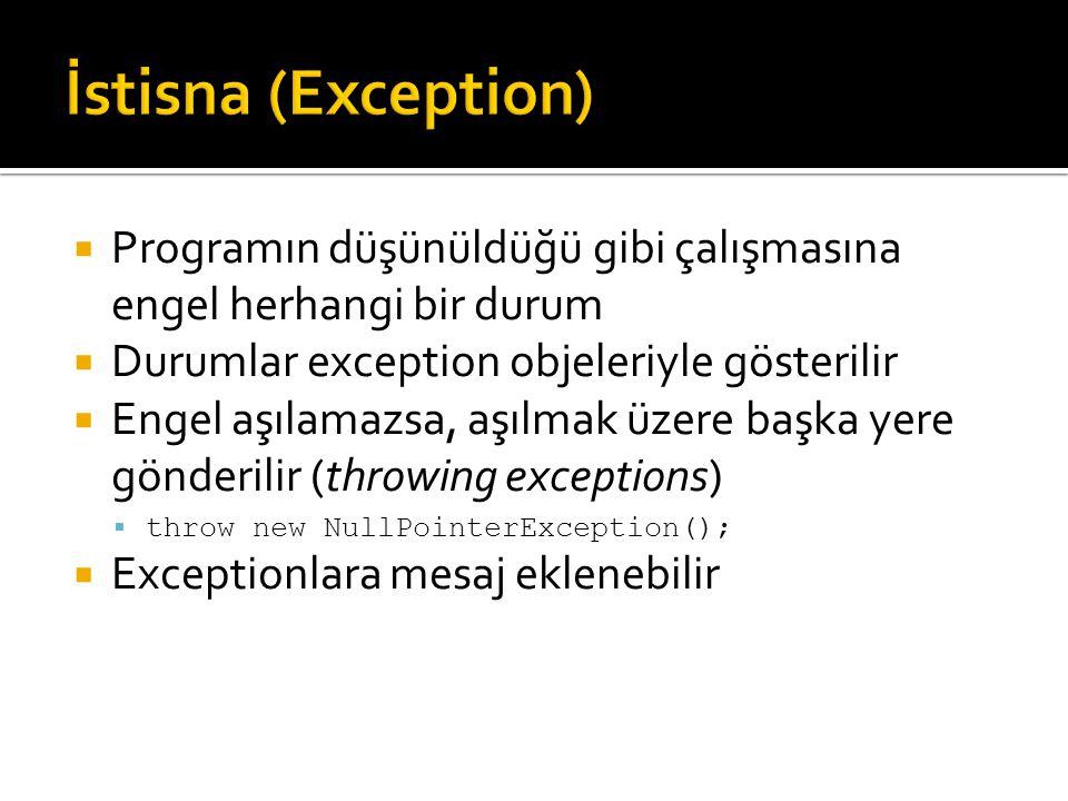 İstisna (Exception) Programın düşünüldüğü gibi çalışmasına engel herhangi bir durum. Durumlar exception objeleriyle gösterilir.