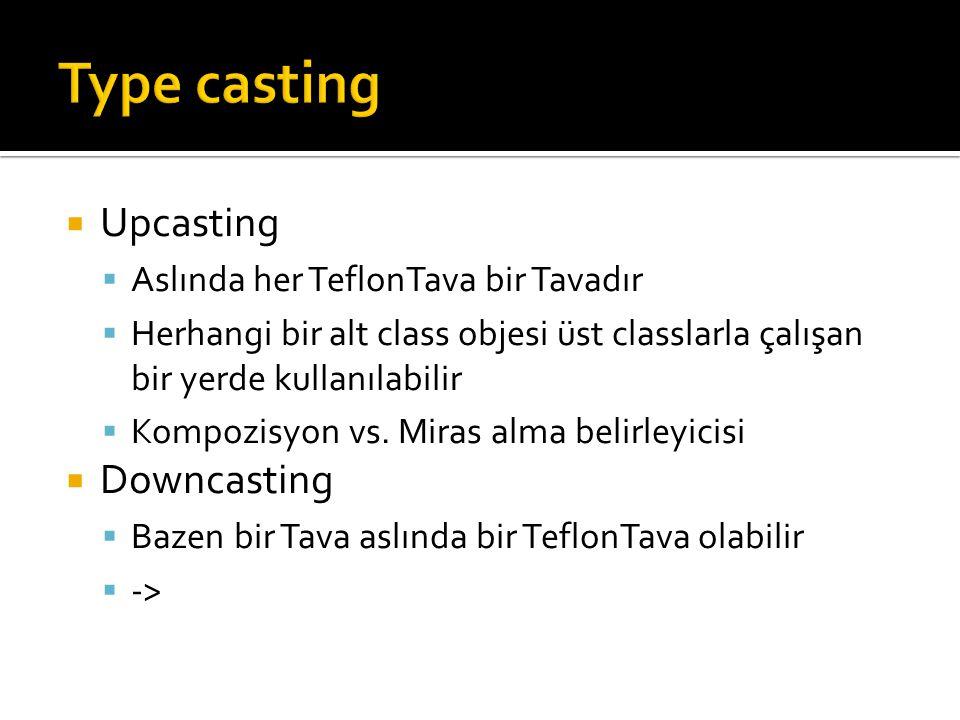 Type casting Upcasting Downcasting Aslında her TeflonTava bir Tavadır
