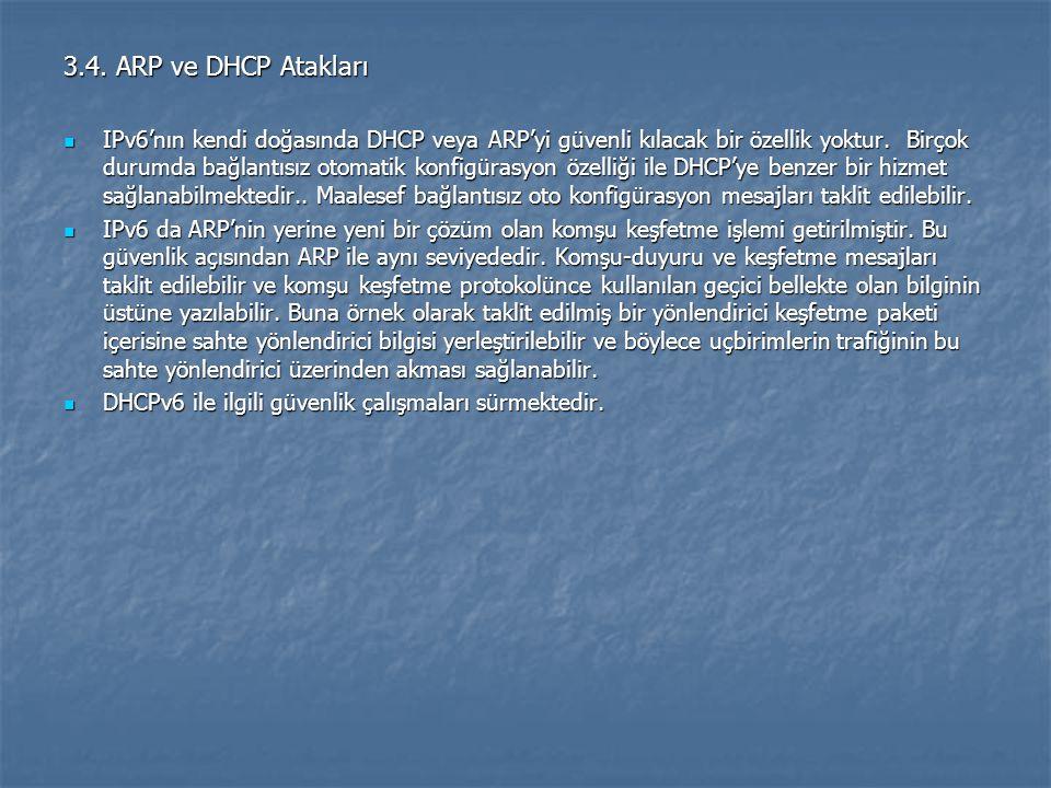 3.4. ARP ve DHCP Atakları