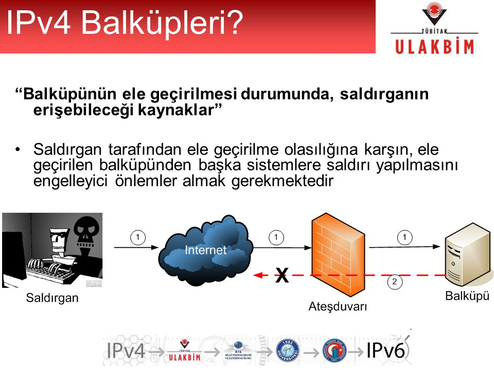 IPv4 Balküpleri Balküpünün ele geçirilmesi durumunda, saldırganın erişebileceği kaynaklar