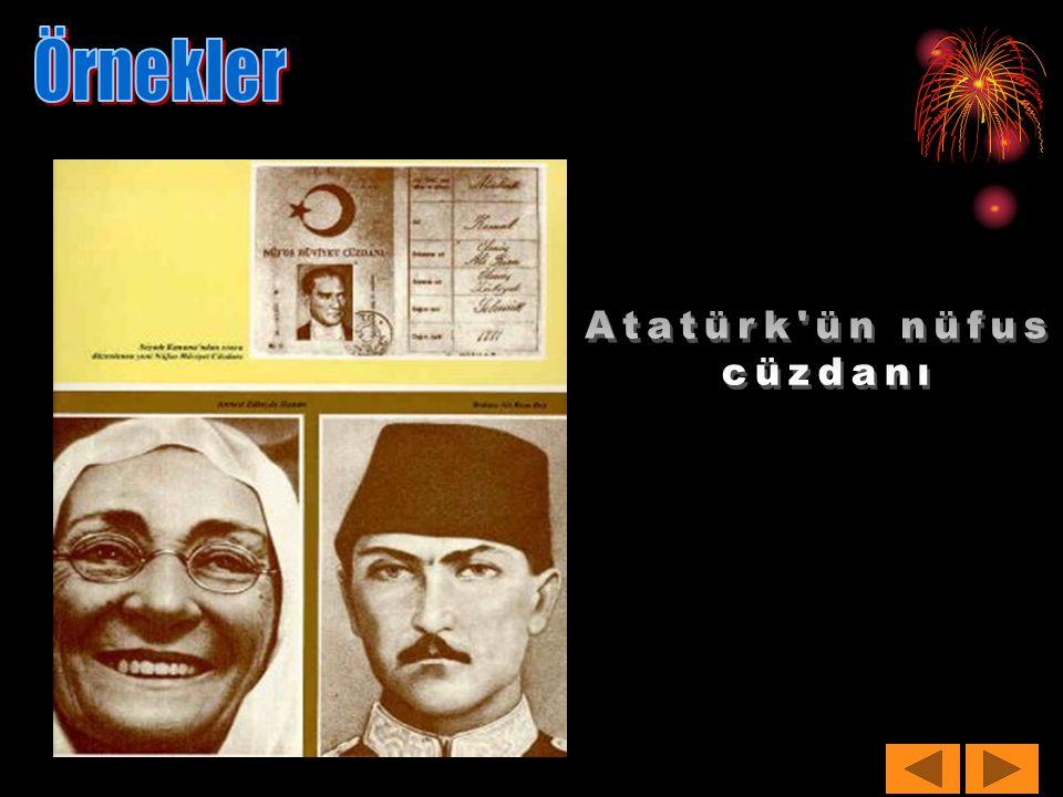 Örnekler Atatürk ün nüfus cüzdanı