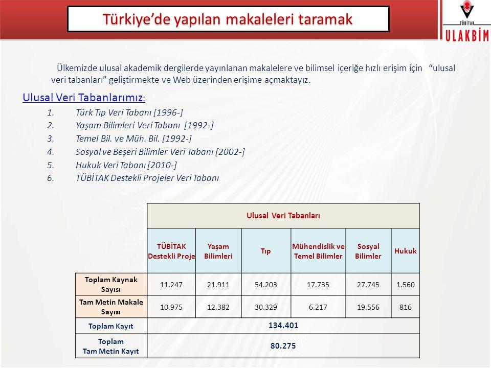 Türkiye'de yapılan makaleleri taramak