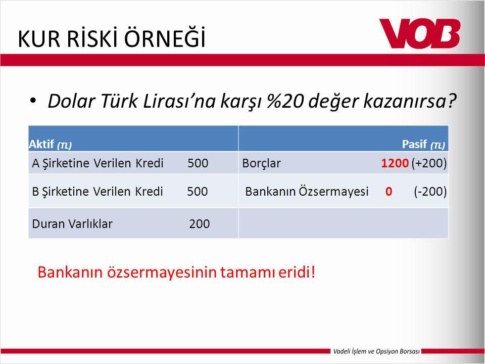 KUR RİSKİ ÖRNEĞİ Dolar Türk Lirası'na karşı %20 değer kazanırsa