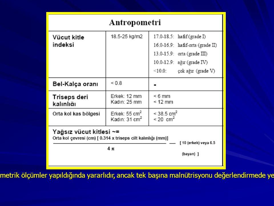 Antropometrik ölçümler yapıldığında yararlıdır, ancak tek başına malnütrisyonu değerlendirmede yeterli değildir