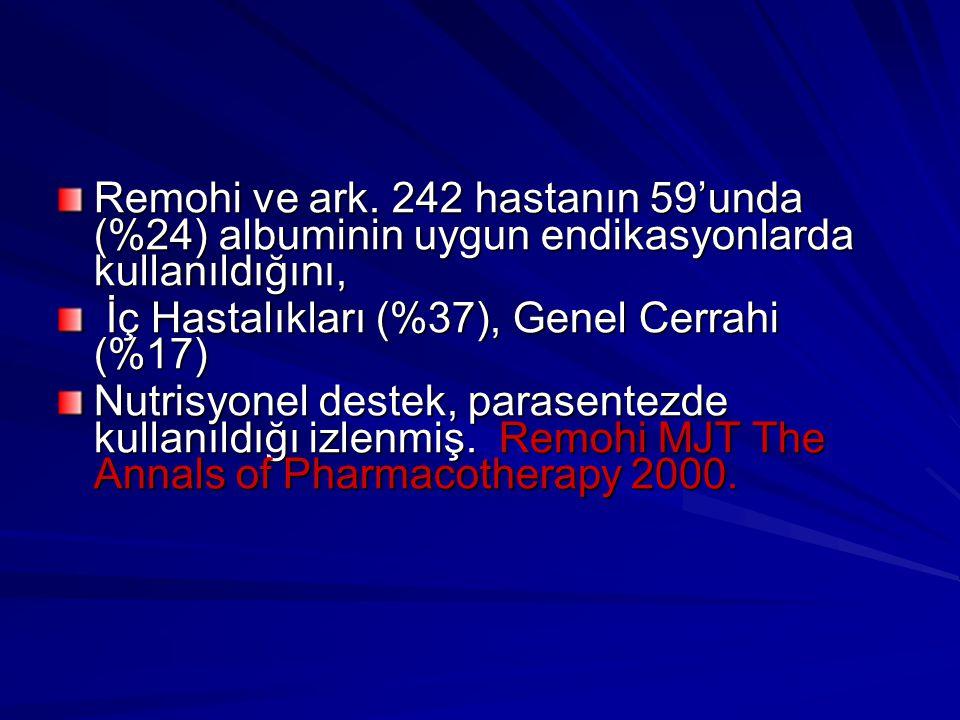 Remohi ve ark. 242 hastanın 59'unda (%24) albuminin uygun endikasyonlarda kullanıldığını,