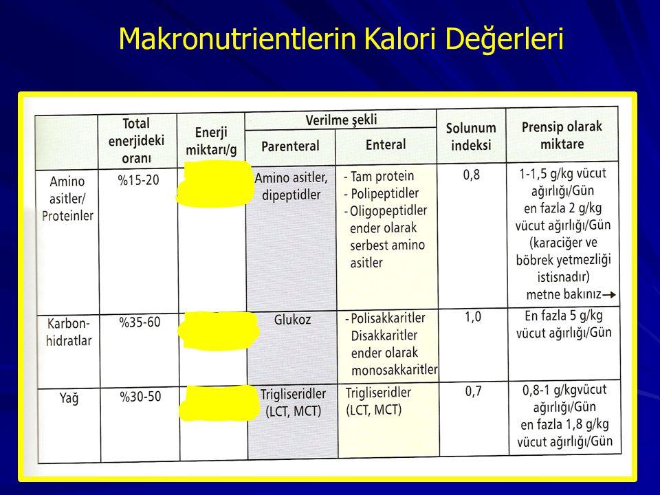 Makronutrientlerin Kalori Değerleri