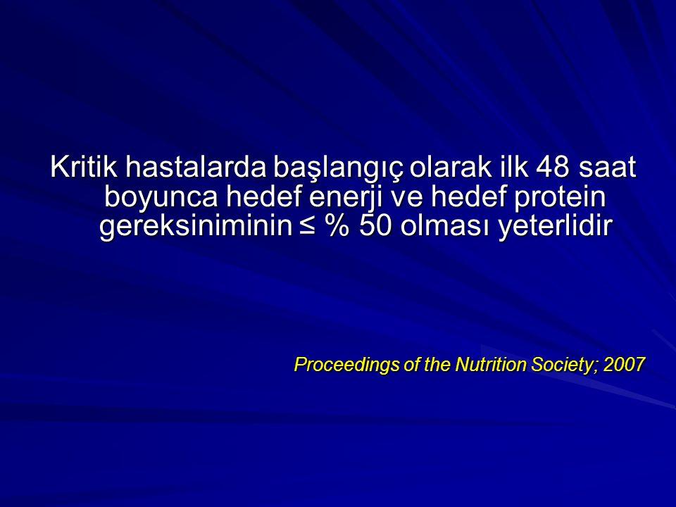 Kritik hastalarda başlangıç olarak ilk 48 saat boyunca hedef enerji ve hedef protein gereksiniminin ≤ % 50 olması yeterlidir