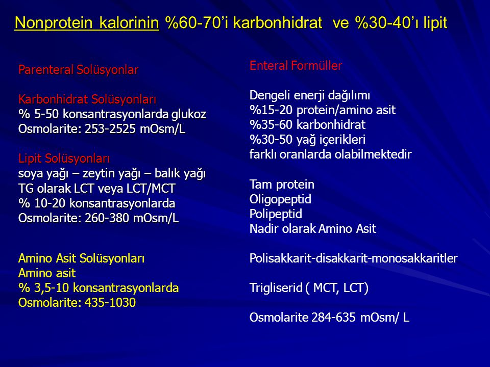 Nonprotein kalorinin %60-70'i karbonhidrat ve %30-40'ı lipit