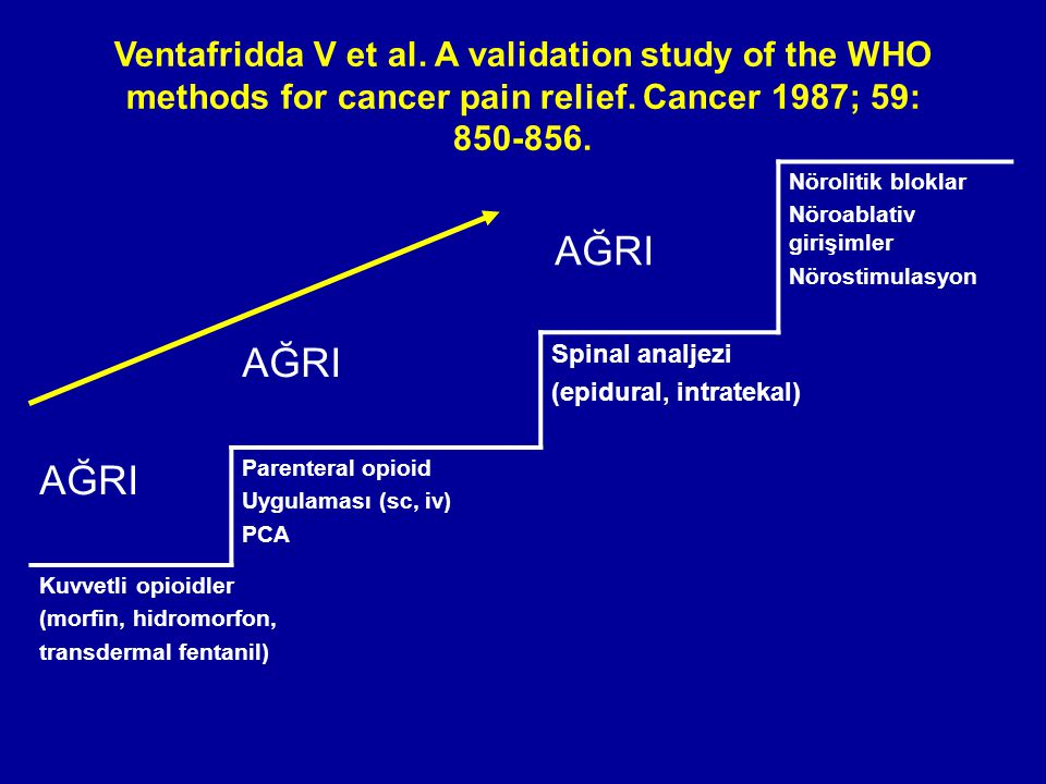 Ventafridda V et al. A validation study of the WHO methods for cancer pain relief. Cancer 1987; 59: 850-856.