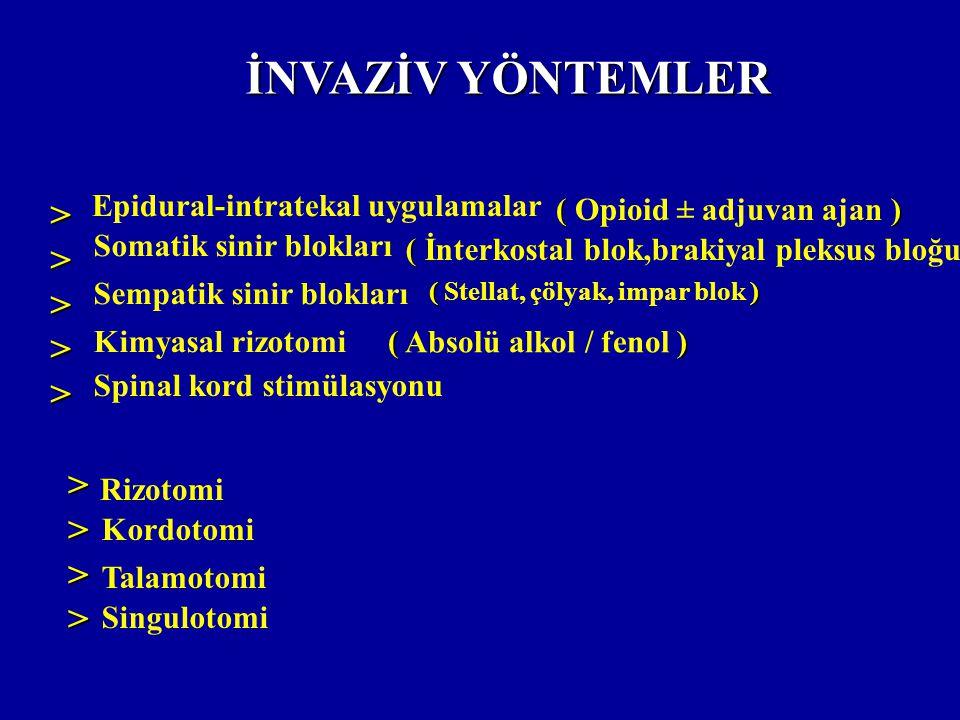 İNVAZİV YÖNTEMLER > > Epidural-intratekal uygulamalar