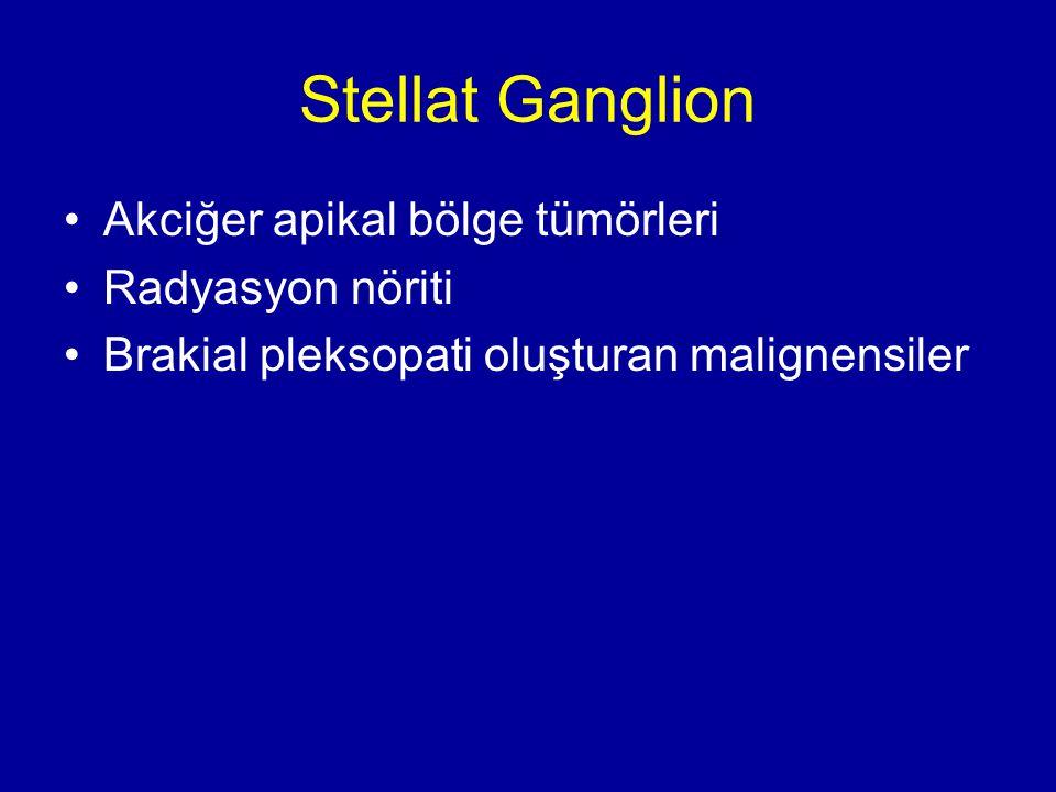 Stellat Ganglion Akciğer apikal bölge tümörleri Radyasyon nöriti