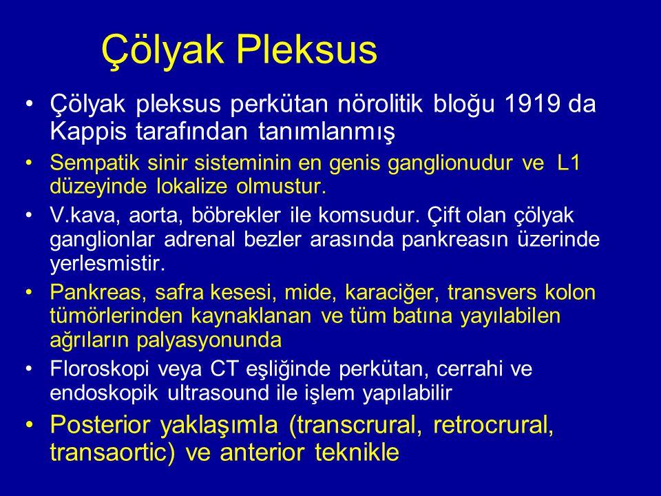 Çölyak Pleksus Çölyak pleksus perkütan nörolitik bloğu 1919 da Kappis tarafından tanımlanmış.