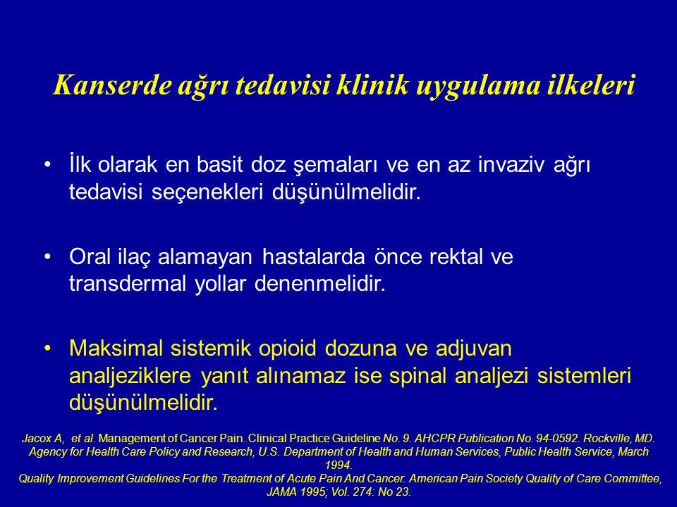 Kanserde ağrı tedavisi klinik uygulama ilkeleri
