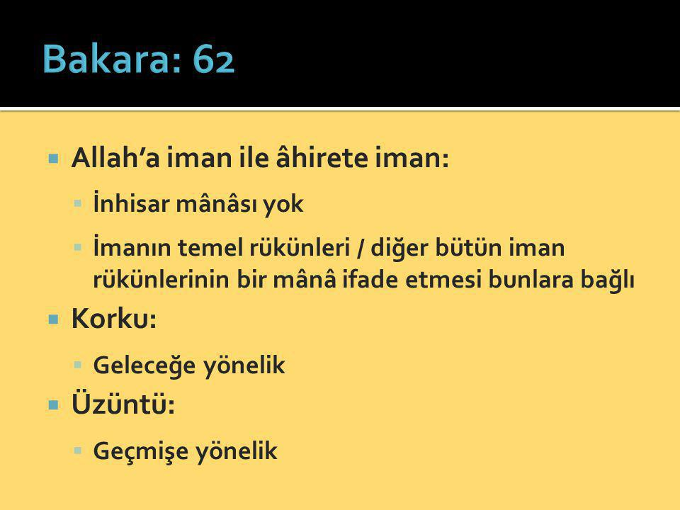 Bakara: 62 Allah'a iman ile âhirete iman: Korku: Üzüntü: