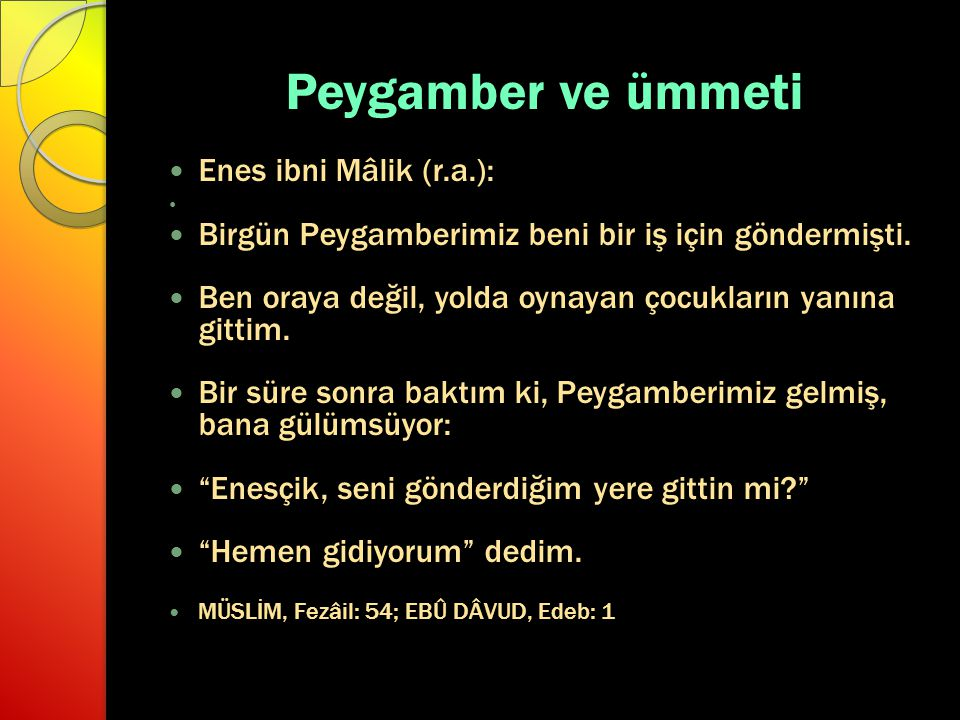 Peygamber ve ümmeti Enes ibni Mâlik (r.a.):