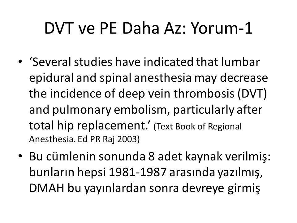 DVT ve PE Daha Az: Yorum-1