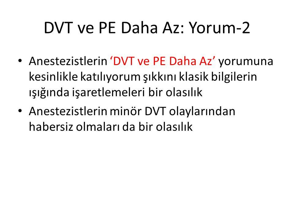 DVT ve PE Daha Az: Yorum-2