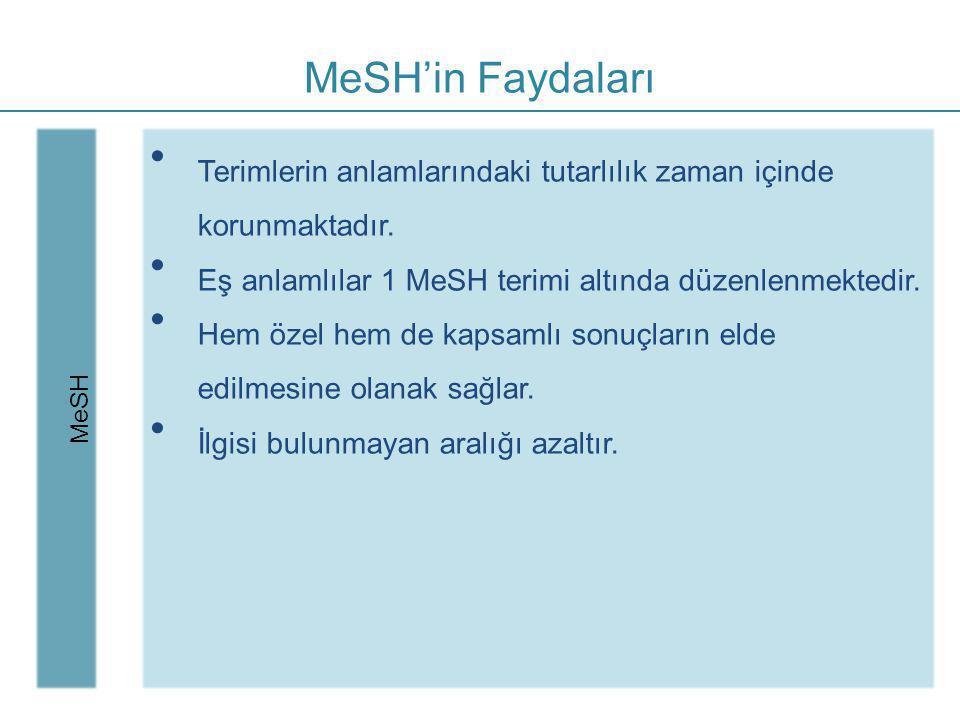 MeSH'in Faydaları MeSH. Terimlerin anlamlarındaki tutarlılık zaman içinde korunmaktadır. Eş anlamlılar 1 MeSH terimi altında düzenlenmektedir.