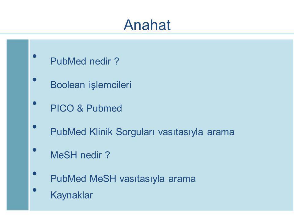 Anahat PubMed nedir Boolean işlemcileri PICO & Pubmed