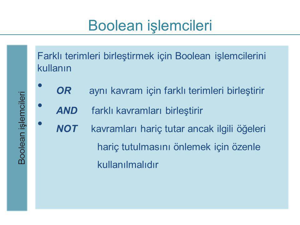 Boolean işlemcileri Boolean işlemcileri. Farklı terimleri birleştirmek için Boolean işlemcilerini kullanın.