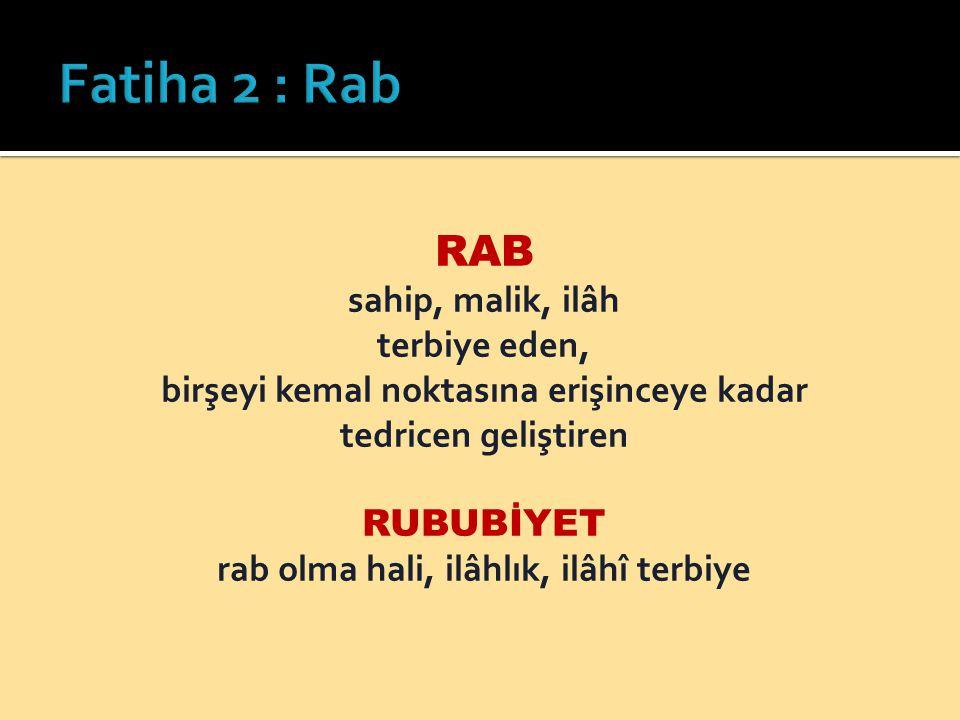 Fatiha 2 : Rab RAB sahip, malik, ilâh terbiye eden,