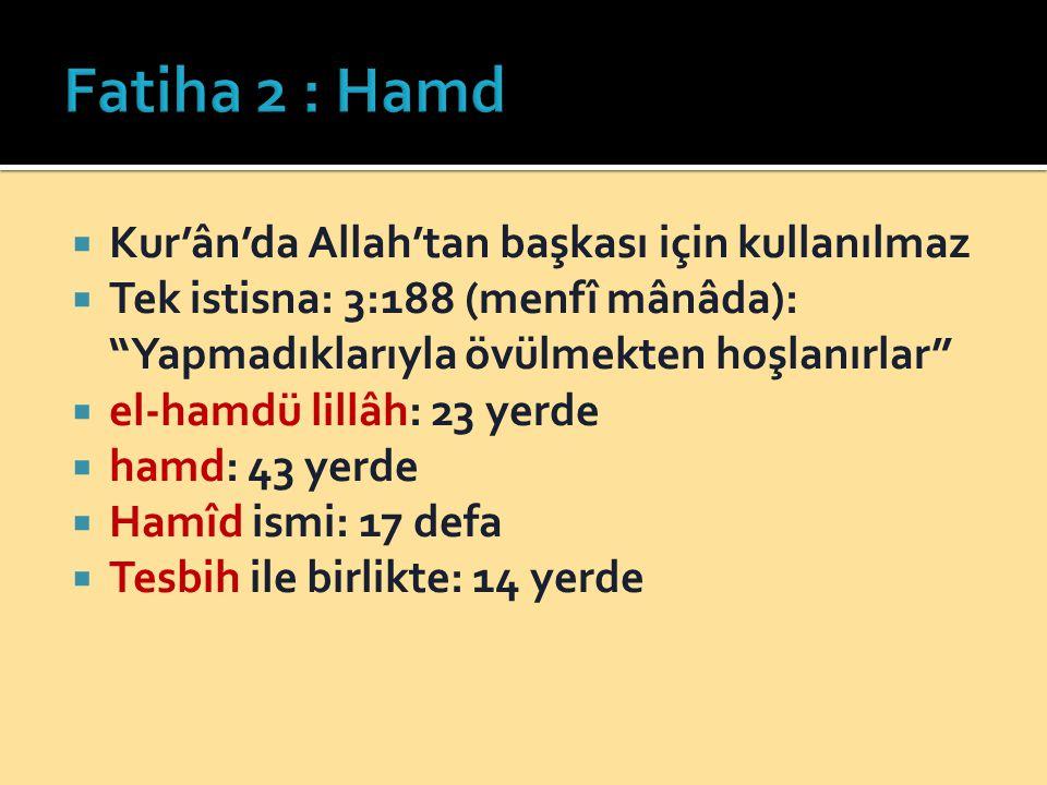 Fatiha 2 : Hamd Kur'ân'da Allah'tan başkası için kullanılmaz