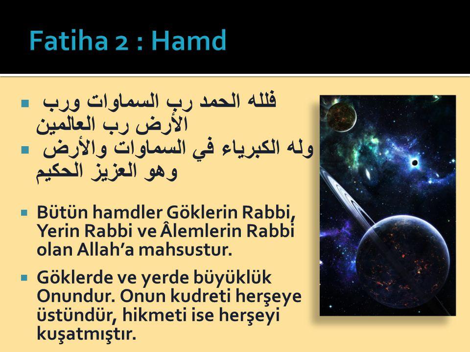 Fatiha 2 : Hamd فلله الحمد رب السماوات ورب الأرض رب العالمين