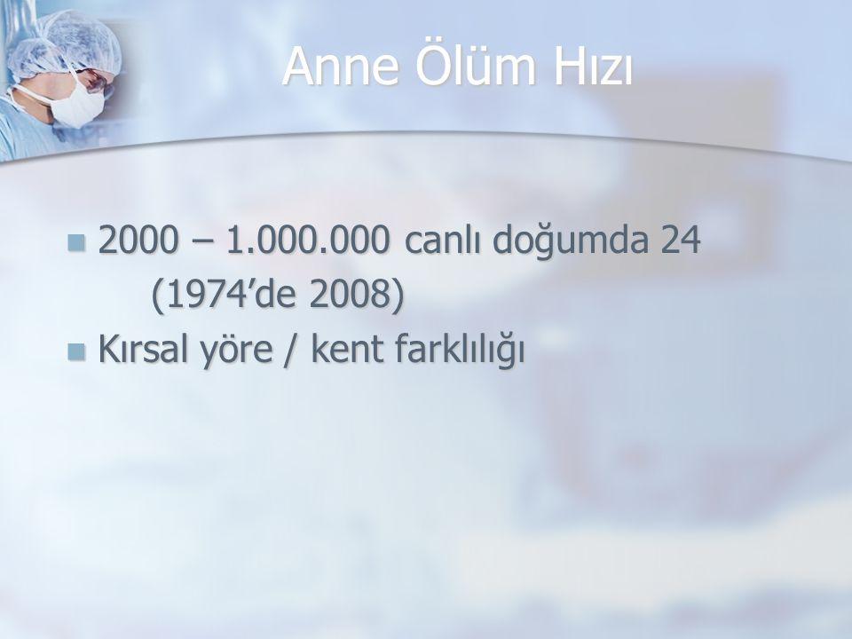 Anne Ölüm Hızı 2000 – 1.000.000 canlı doğumda 24 (1974'de 2008)