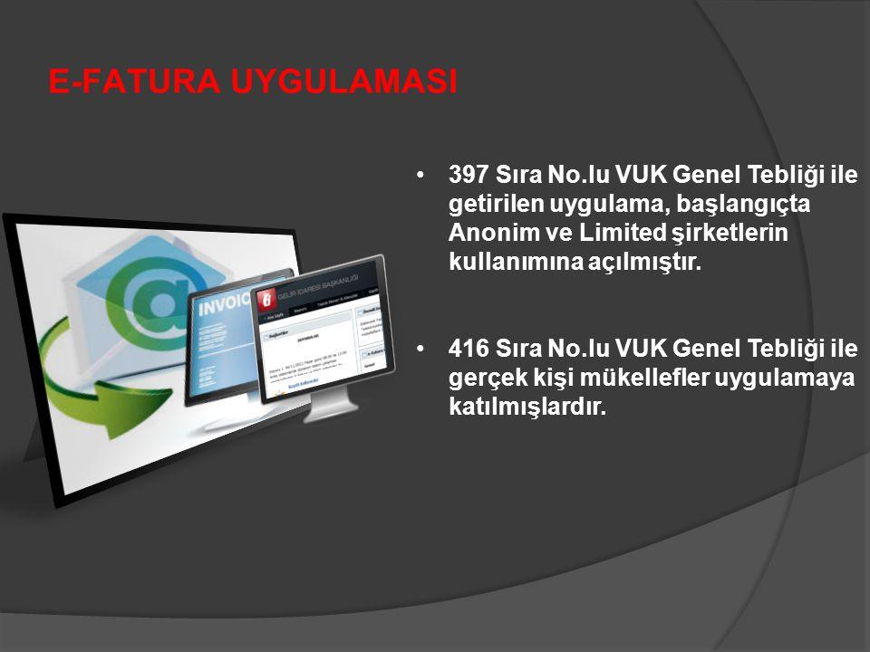 E-FATURA UYGULAMASI 397 Sıra No.lu VUK Genel Tebliği ile getirilen uygulama, başlangıçta Anonim ve Limited şirketlerin kullanımına açılmıştır.