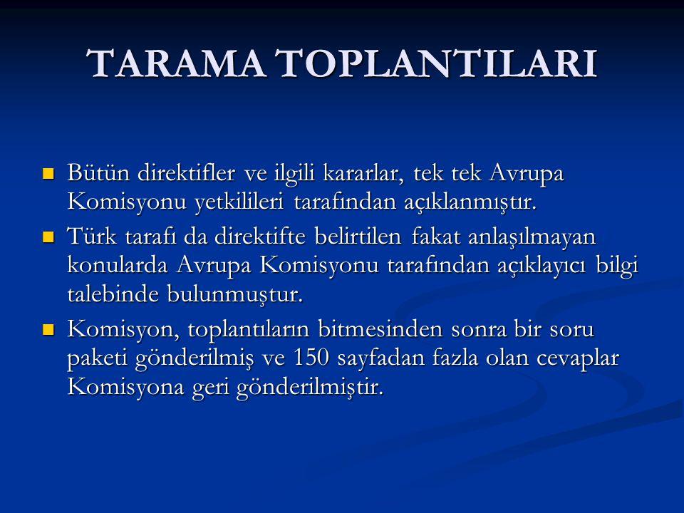TARAMA TOPLANTILARI Bütün direktifler ve ilgili kararlar, tek tek Avrupa Komisyonu yetkilileri tarafından açıklanmıştır.