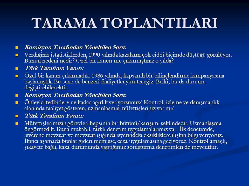 TARAMA TOPLANTILARI Komisyon Tarafından Yöneltilen Soru: