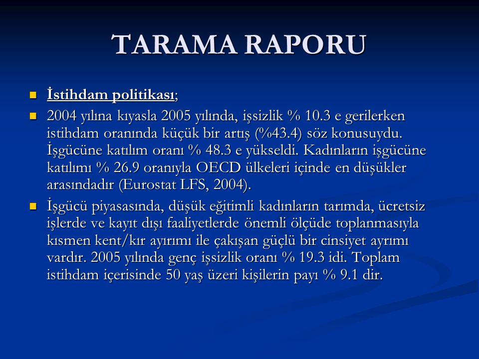 TARAMA RAPORU İstihdam politikası;