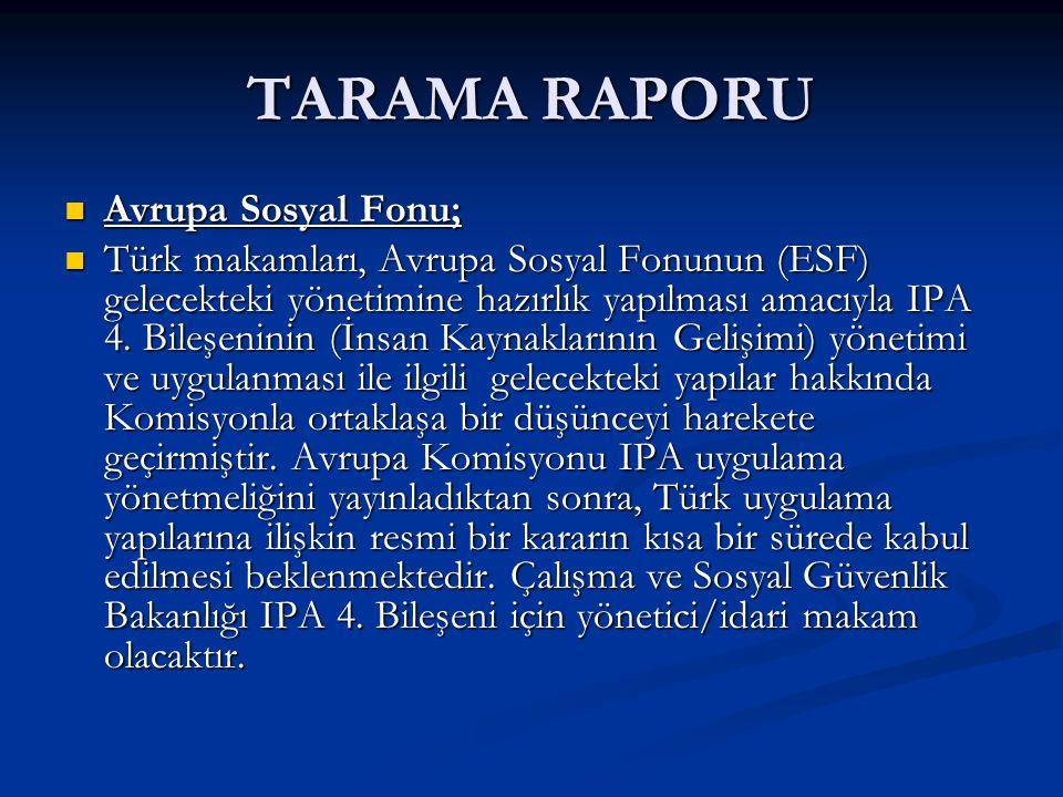 TARAMA RAPORU Avrupa Sosyal Fonu;