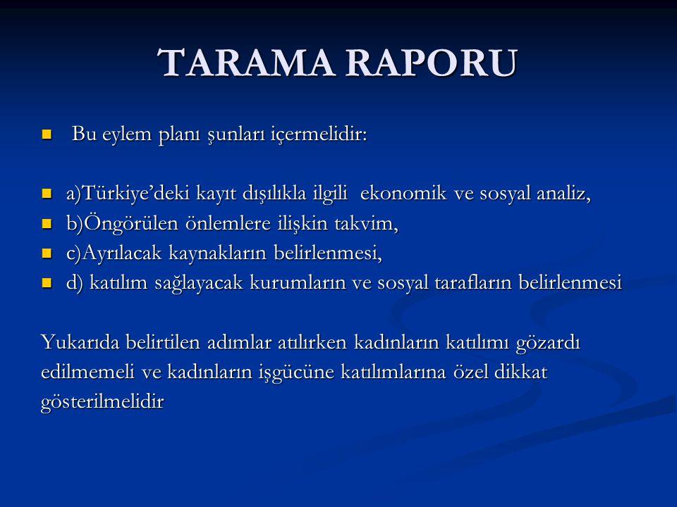 TARAMA RAPORU Bu eylem planı şunları içermelidir: