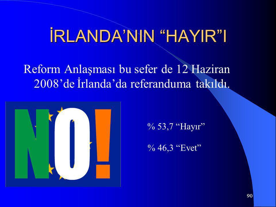 İRLANDA'NIN HAYIR I Reform Anlaşması bu sefer de 12 Haziran 2008'de İrlanda'da referanduma takıldı.