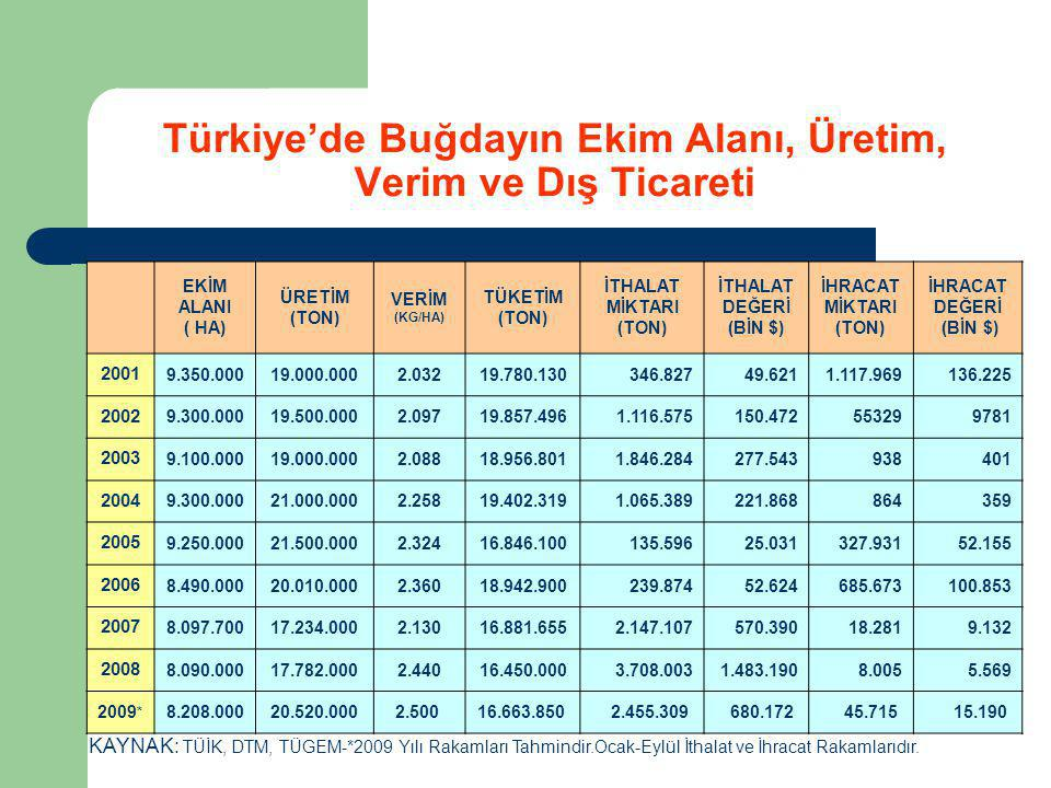 Türkiye'de Buğdayın Ekim Alanı, Üretim, Verim ve Dış Ticareti