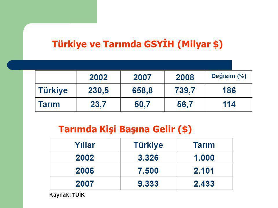 Türkiye ve Tarımda GSYİH (Milyar $)