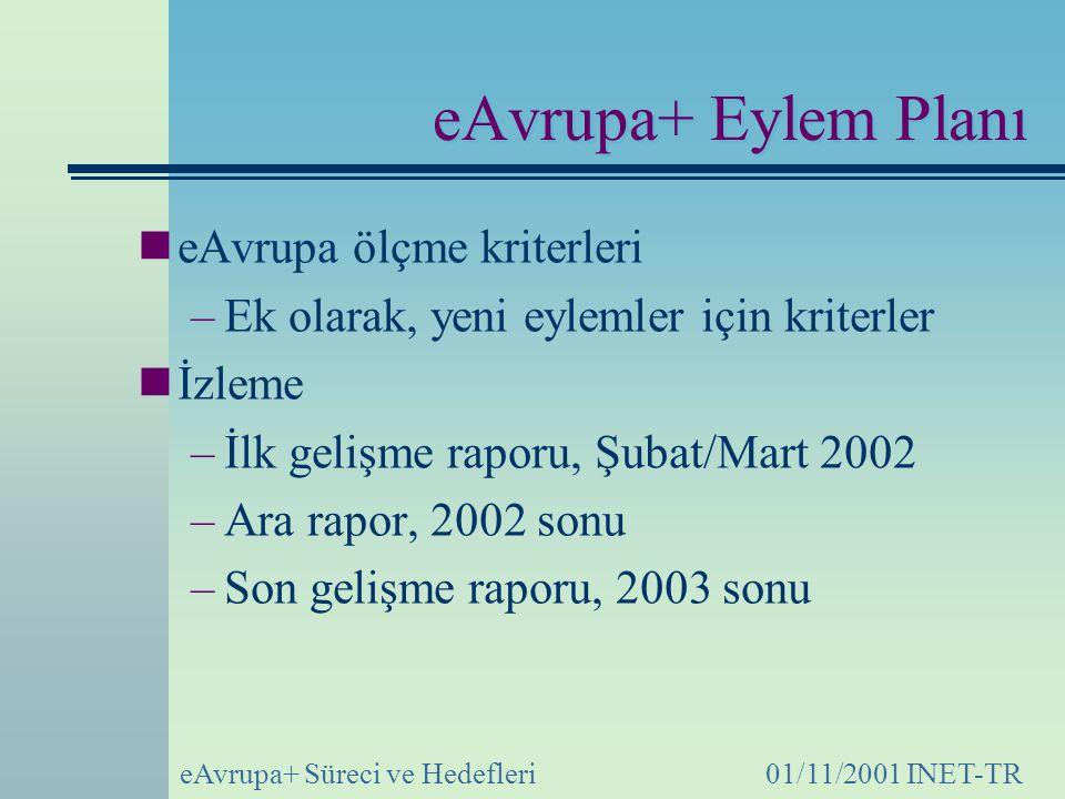 eAvrupa+ Eylem Planı eAvrupa ölçme kriterleri