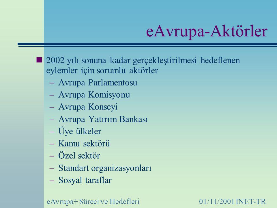 eAvrupa-Aktörler 2002 yılı sonuna kadar gerçekleştirilmesi hedeflenen eylemler için sorumlu aktörler.