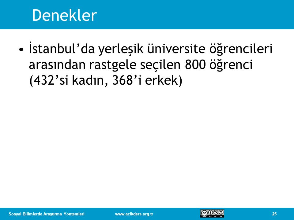 Denekler İstanbul'da yerleşik üniversite öğrencileri arasından rastgele seçilen 800 öğrenci (432'si kadın, 368'i erkek)