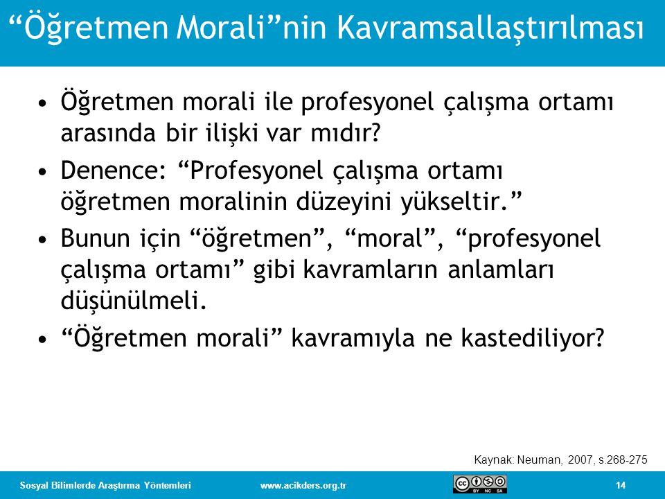 Öğretmen Morali nin Kavramsallaştırılması