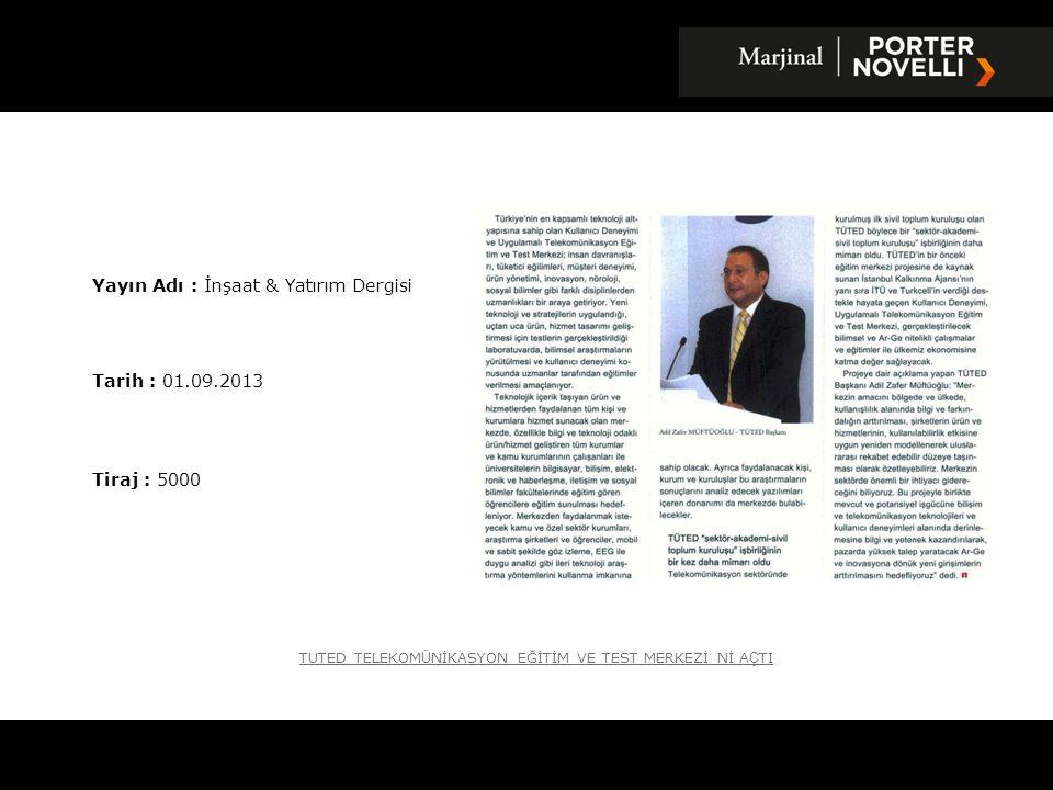 Yayın Adı : İnşaat & Yatırım Dergisi
